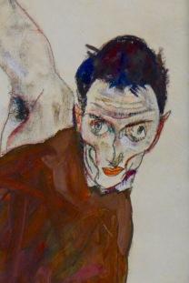Egon Schiele Autoportrat au coude droit dressé 部分, 1914 , Collection particulière